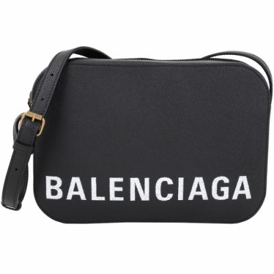 BALENCIAGA VILLE 品牌字母粒面小牛皮相機包(黑色/S)