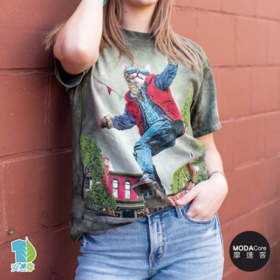 摩達客-美國進口The Mountain 滑板潮流貓 純棉環保藝術中性短袖T恤