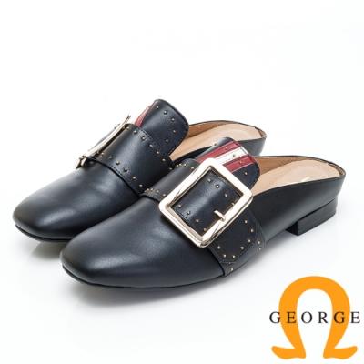 GEORGE 喬治皮鞋 釦飾三色鉚釘造型平底穆勒鞋-黑色