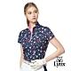 【Lynx Golf】女款吸濕排汗滿版花卉印花造型燙鑽設計短袖立領POLO衫-深藍色 product thumbnail 2