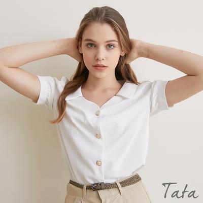 質感方釦雪紡V領上衣 TATA-(S~XL)