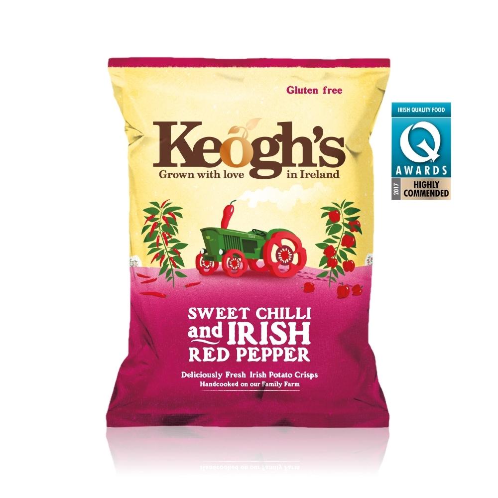 699免運 Keogh's愛爾蘭手作洋芋片125g-甜辣紅椒風味