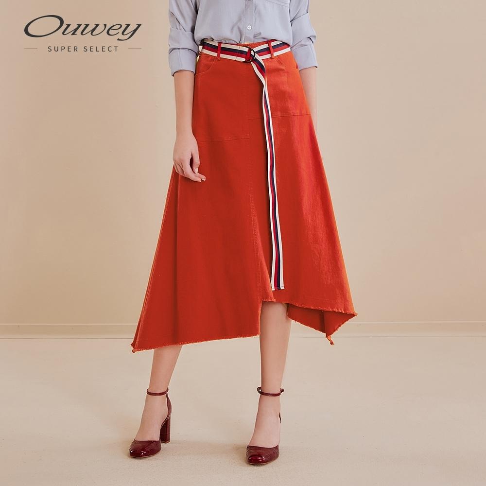 OUWEY歐薇 亮麗彈性不規則抽鬚牛仔裙(磚)