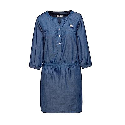 FILA 女款平織洋裝-深藍 5DRT-1711-BU