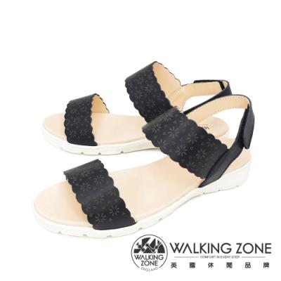 WALKING ZONE(女) 淑女雕花雙帶 厚底彈力涼鞋- 黑(另有黃)