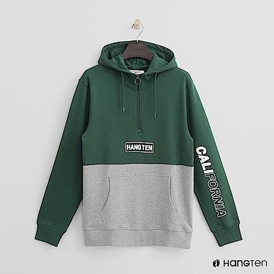 Hang Ten - 男裝 - 加州性格雙色連帽上衣-綠色