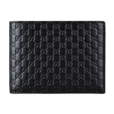 GUCCI經典Guccissima系列MINI雙G LOGO牛皮12卡對折短夾(黑)