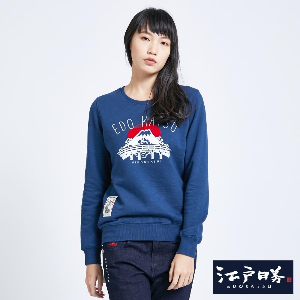 EDO KATSU江戶勝 植絨紅日富士山長袖T恤-女-灰藍色
