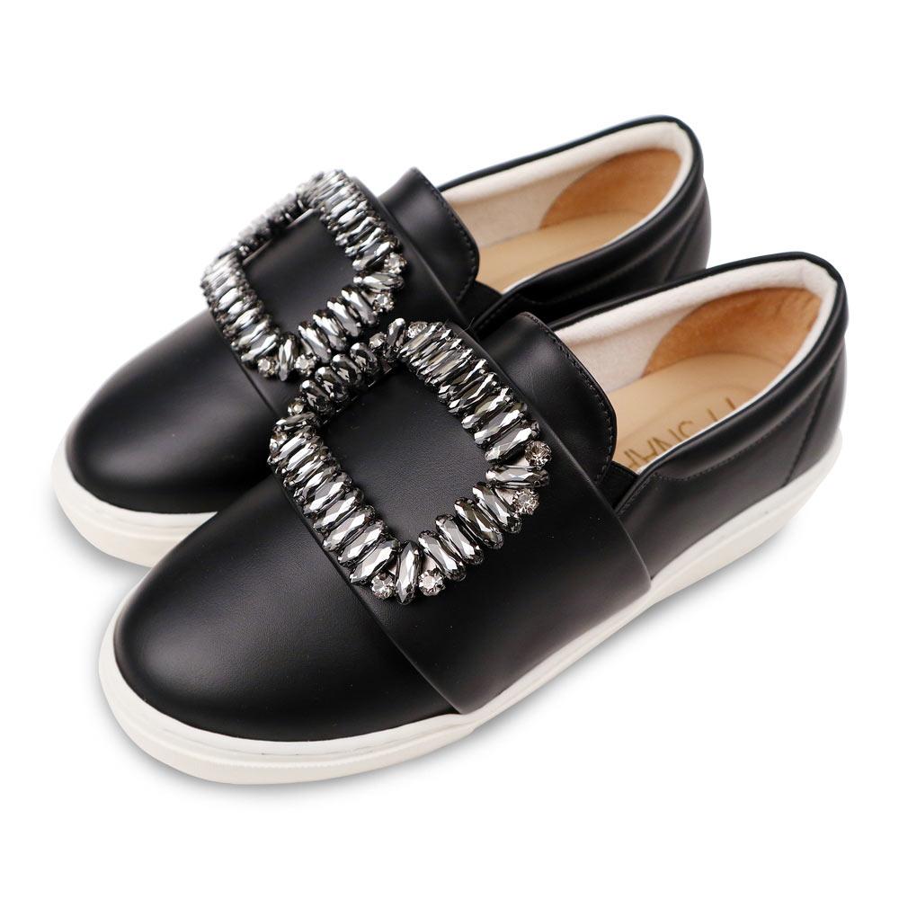 TTSNAP厚底樂福鞋-MIT方形水鑽牛紋真皮休閒鞋 黑