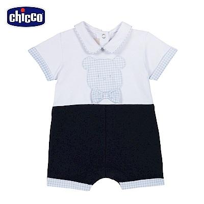 chicco-藍格熊-造型有領後開短袖兔裝