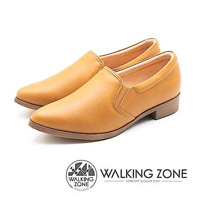 WALKING ZONE 真皮素面尖頭舒適低跟鞋 女鞋 - 棕(另有黑)