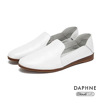 達芙妮DAPHNE 休閒鞋-真皮霧面懶人踩腳休閒鞋-白