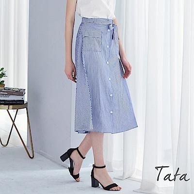 直條紋鬆緊腰裙 TATA
