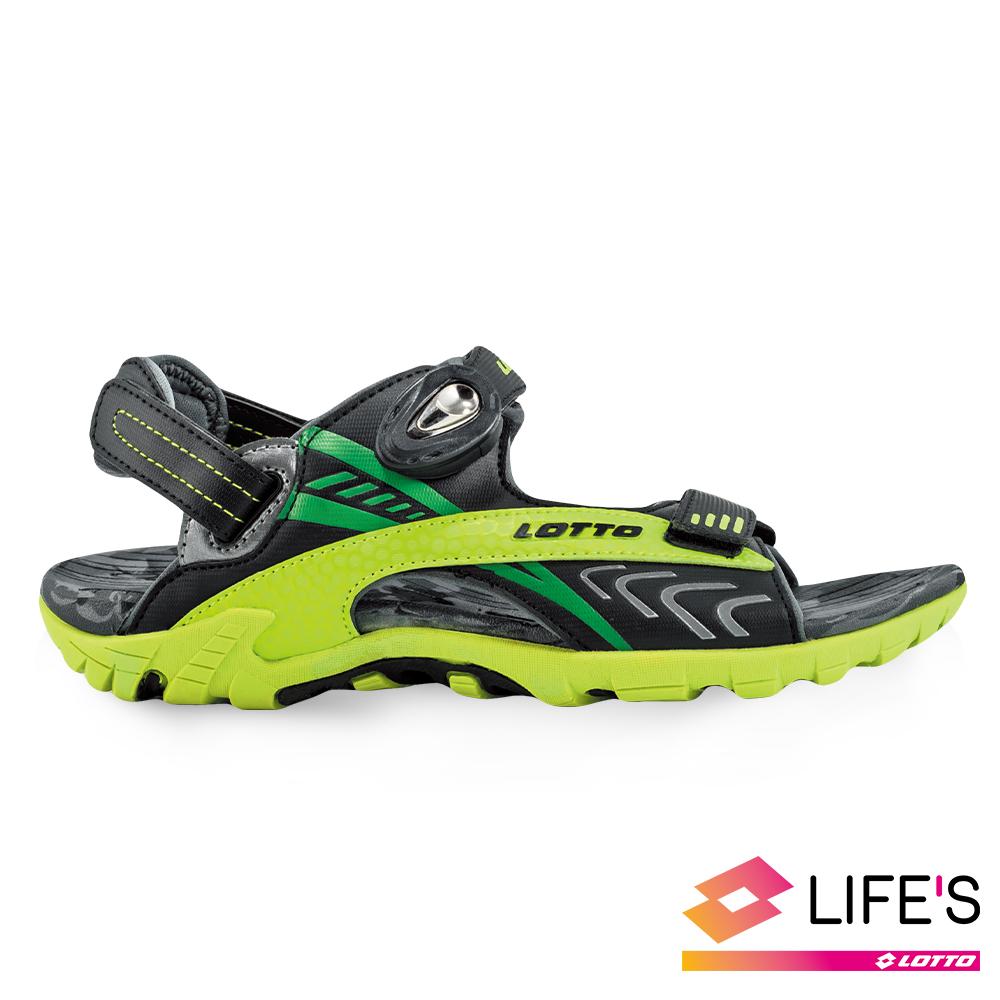 LOTTO 義大利 童 排水磁扣涼鞋 (黑/綠)