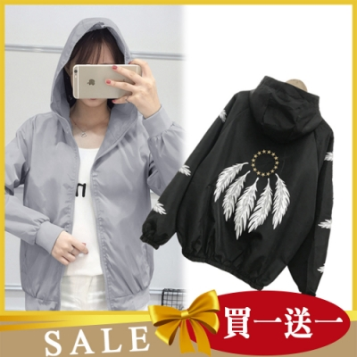 【韓國K.W.】(預購) 獨家限量買一送一 送同款輕薄涼感風衣防曬外套