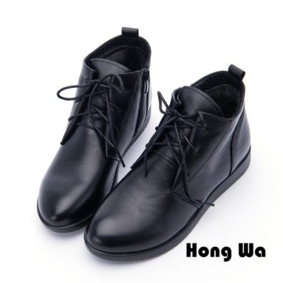 Hong Wa - 素面時尚綁帶牛皮械型短靴 - 黑