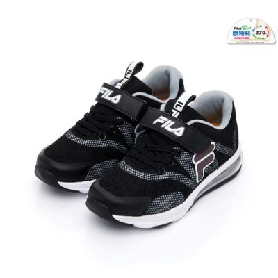 FILA KIDS 大童氣墊MD慢跑鞋-黑白 3-J403U-011