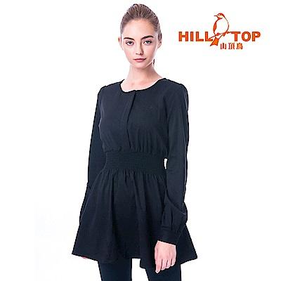 【hilltop山頂鳥】女款超潑水無領長袖襯衫C05F19黑美人