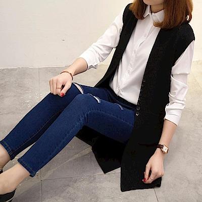 La Belleza小立領羅紋針織黑色排釦前短後長側開叉毛料長版背心
