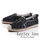 Keeley Ann 休閒假期~竹編閃耀水鑽透膚平底休閒鞋(黑色-Asin系列)