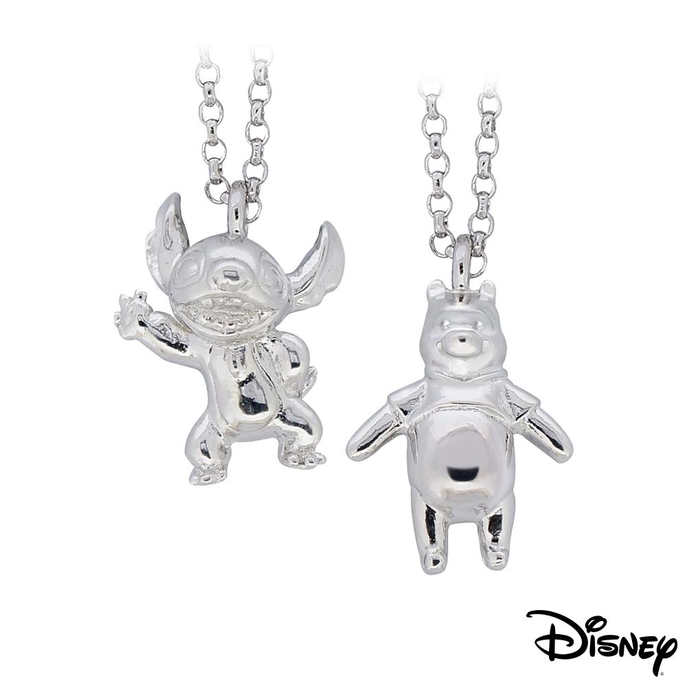 迪士尼系列金飾 立體純銀墜子-焦點史迪奇款+樂活維尼款 送項鍊