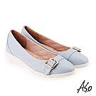 A.S.O 雅致魅力 全真皮菱格壓紋釦飾低跟鞋 淺藍