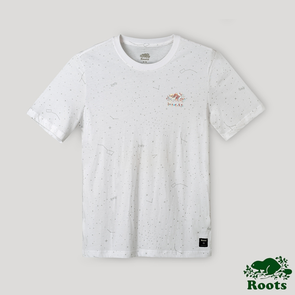 Roots男裝-璀璨銀河系列 燙金海狸LOGO短袖T恤-白色