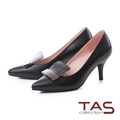 TAS金屬一字造型羊皮尖頭高跟鞋-經典黑