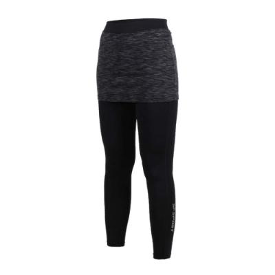 SOFO 女九分韻律褲-假兩件 有氧 瑜珈 慢跑 路跑 長褲 緊身褲 黑灰