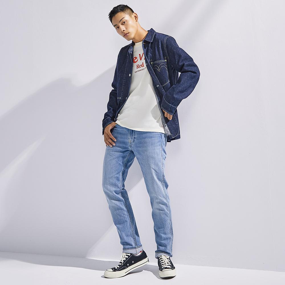 Levis Red 工裝手稿風復刻再造 男款 上寬下窄 502 Taper牛仔褲 淺藍基本款 彈性布料