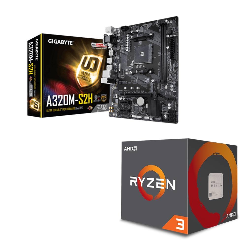 AMD Ryzen3 2200G+技嘉A320M-S2H 超值組