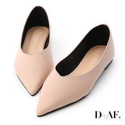 D+AF 韓風時尚.素面尖頭V口平底鞋*粉