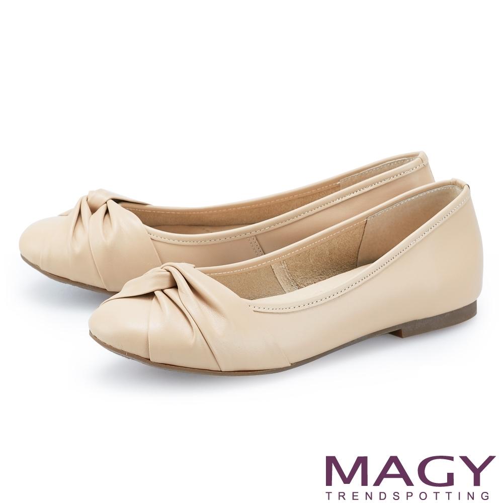 MAGY 抓皺交叉真皮 女 平底鞋 杏色