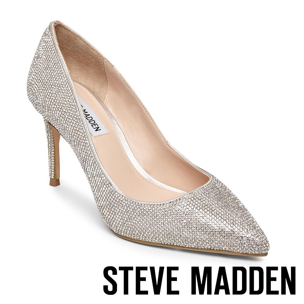 STEVE MADDEN-LILLIE 奢華素面尖頭高跟鞋-銀色