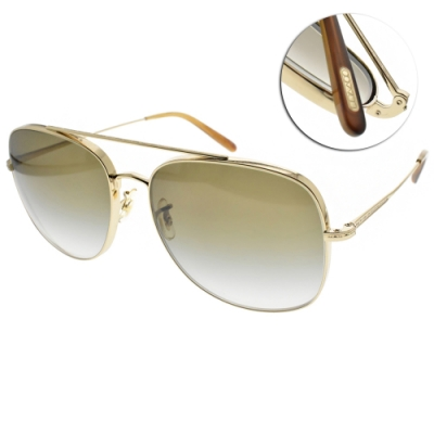 OLIVER PEOPLES太陽眼鏡  歐美時尚雙槓造型款/金-漸層綠鏡片#TARON 50358E