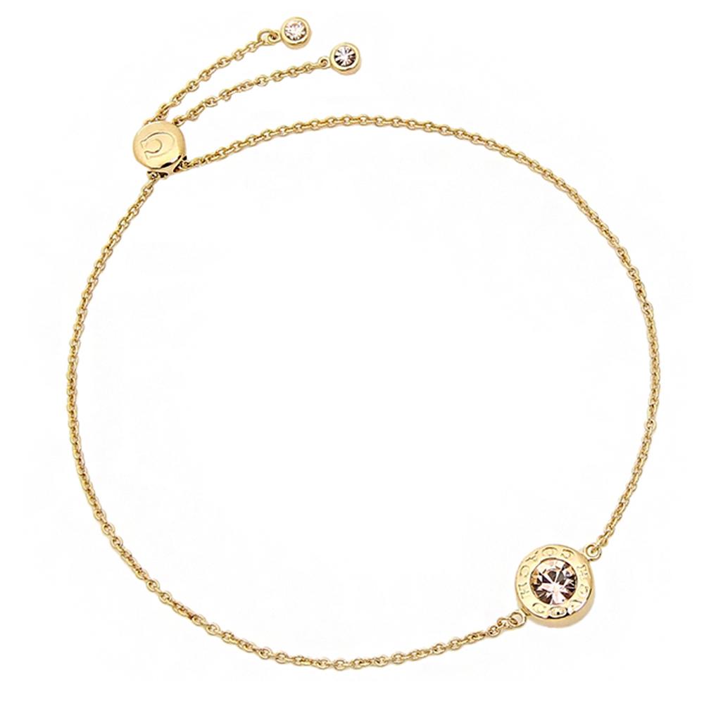 COACH 時尚氣質水鑽圓形墜飾手鍊 金色COACH