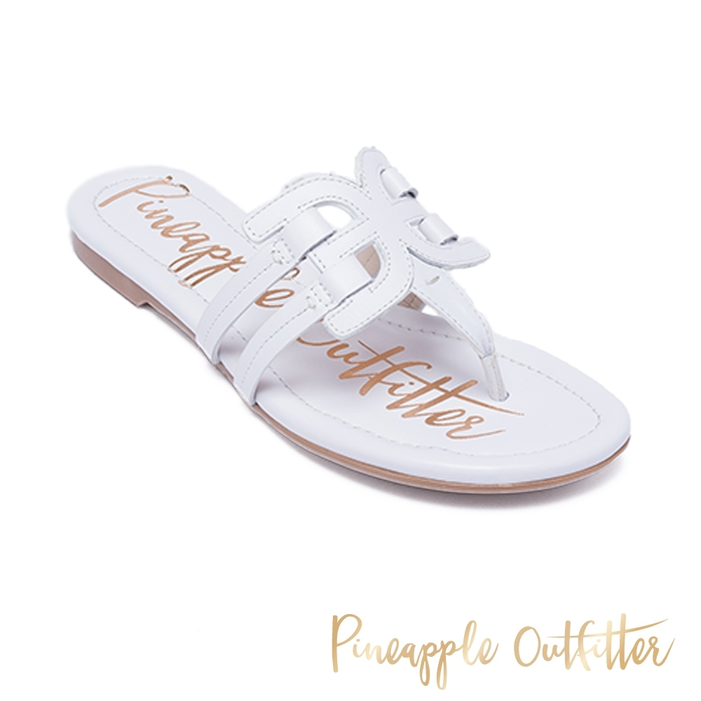 Pineapple Outfitter 夏日時尚皮革造型夾腳拖涼鞋-白色