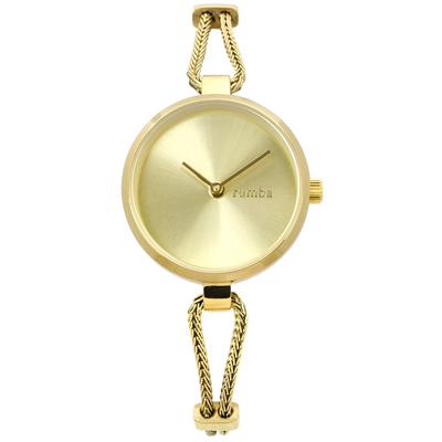 rumba time 紐約品牌 細緻鋼鍊 極簡設計 不鏽鋼手錶-鍍金/26mm