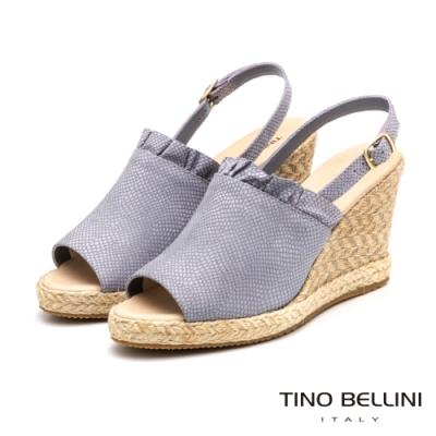 Tino Bellini巴西進口夢幻抓摺魚口藤編楔型涼鞋_粉藍