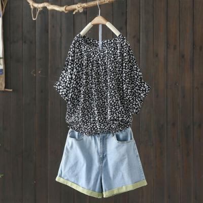 寬鬆大碼碎花圓領T恤韓版顯瘦印花短袖上衣-設計所在