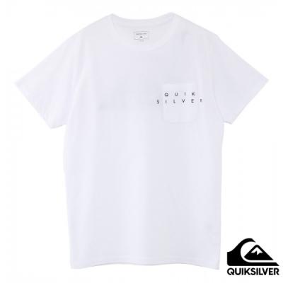 【QUIKSILVER】 DF POCKET BIG LOGO ST 針織T恤 白