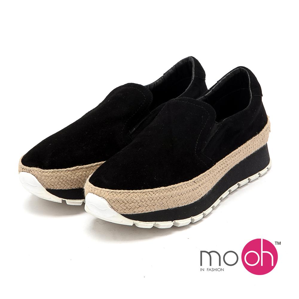 mo.oh - 全真皮-麻編套腳厚底懶人鞋休閒鞋-黑色