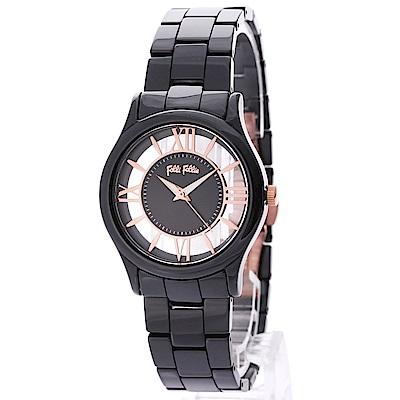 Folli Follie Time Illusion 透明錶盤時尚陶瓷腕錶34mm (黑)