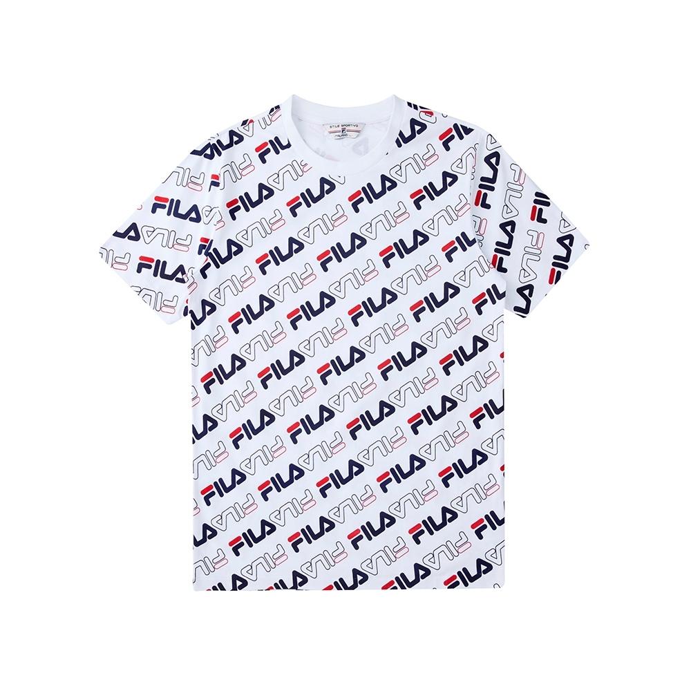 FILA  #尬頑街潮 短袖圓領T恤-白色 1TEU-5400-WT