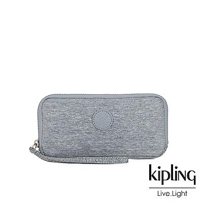 Kipling 極簡風淺灰丹寧手拿長夾-ZORA