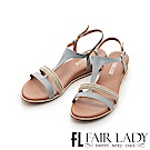Fair Lady 鑲嵌串珠T字楔型涼鞋 藍