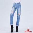 BRAPPERS 女款 新美腳ROYAL系列-中高腰星星割破寬版直筒褲-藍