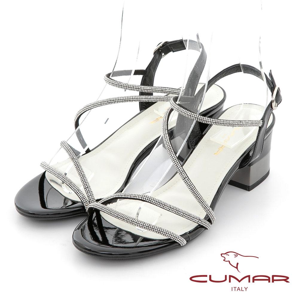 【CUMAR】不對襯鑽條裝飾粗跟涼鞋-黑