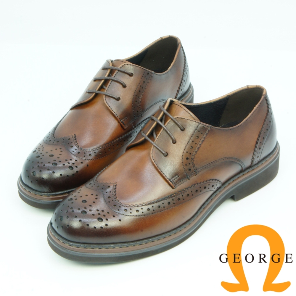 GEORGE喬治皮鞋 學院風漸層翼紋雕花綁帶牛津鞋-咖啡色