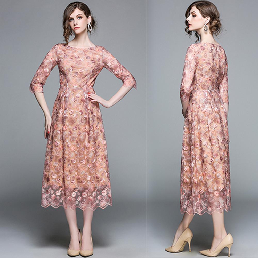 【KEITH-WILL】愛魅情深中袖合身蕾絲洋裝